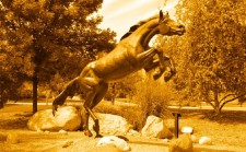 Pictured is the Bronco statue.