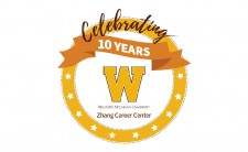 Pictured is the Zhang Career Center 10-year anniversary logo.