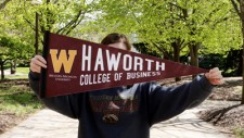 Pictured is a Haworth College of Business pennant. Submit your class notes.