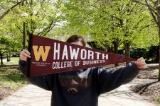 Pictured is the Haworth College of Business pennant.