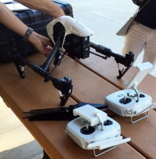 Drone on a table getting prepped to fly