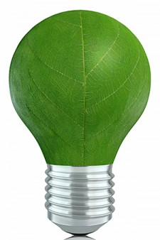 Photo of green light bulb.