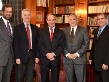 Photo of WMU's provost with the presidents of Lake Michigan College, Lansing Community College, Glen Oaks Community College, and Kellogg Community College.
