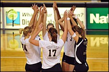 Photo of WMU volleyball players.