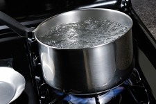 Photo of water boiling.