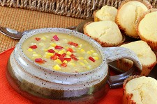 Photo of corn chowder.