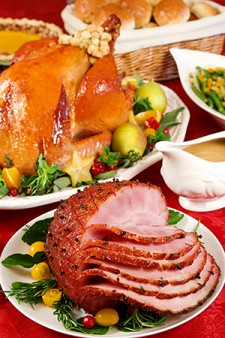 Photo of ham and turkey dinner.