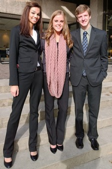 Photo of students Alexa DeVos, Kayla Reinhackel and Brian Curlett.