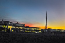 Photo of WMU's College of Engineering and Applied Sciences at sunset.