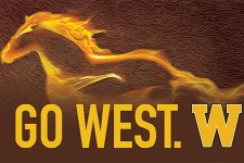 "Graphic depicting WMU bronco with the tagline ""Go West."""