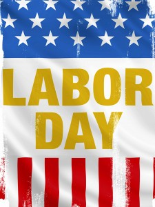 Photo of red white and blue Labor Day graphic.