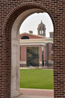Photo of WMU's Heritage Hall as seen through the facade of North Hall.