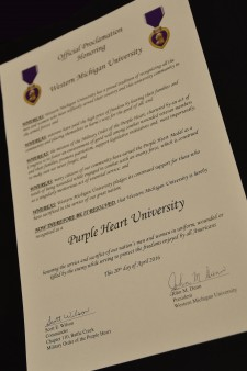 Photo of a Purple Heart designation certificate.
