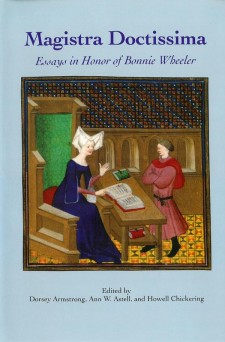 Cover of Magistra Doctissima: Essays in Honor of Bonnie Wheeler: on a light blue background, an image of Christine de Pizan in blue instructing a man in red over an open book