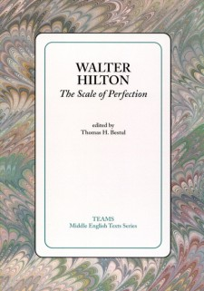 Cover image of Walter Hilton: The Scale of Perfection: the title on a white square, over a pink, green, and brown swirled background