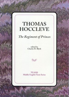 Cover image of Thomas Hoccleve: The Regiment of Princes: the title on a white square, over a purple and brown swirled background