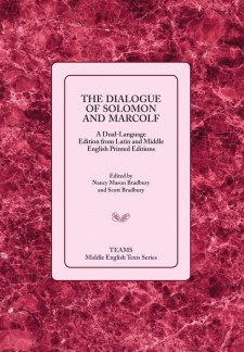 Cover image of The Dialogue of Solomon and Marcolf: the title on a light pink square over a darker pink marble-patterned background