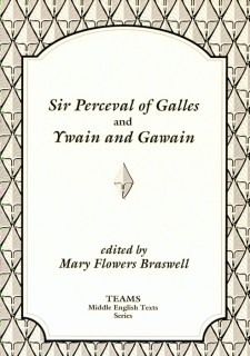 Cover image of Sir Perceval of Galles and Ywain and Gawain: the title on a white plaque, over a grey and white stylized pattern of leaves