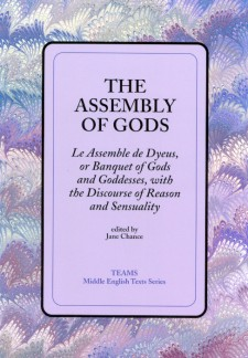 Cover image of The Assembly of Gods: the title on a purple background, over a blue, purple, and white swirled background