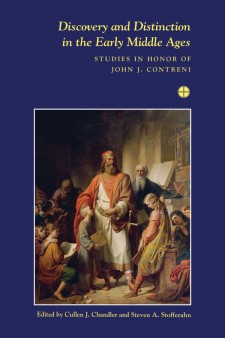 Discovery and Distinction in the Early Middle Ages: Studies in Honor of John J. Contreni: on a dark blue background, an image of a man robes surrounded by children and books