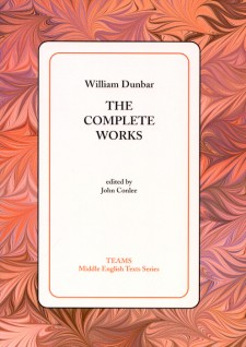 Cover image of William Dunbar: The Complete Works: the title on a white square, over a peach and pink feathered background