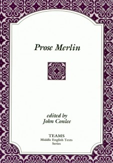Cover image of Prose Merlin: the title on a white box, over a magenta stylized, floral background
