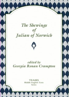 Cover image of The Shewings of Julian of Norwich: the title in grey on a white plaque, over a background of alternating grey and blue scallops