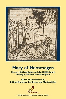 Cover of Mary of Nemmegen: on a yellow background, a woodcut of a prostrate woman in late medieval clothing, over whom a black devil floats.