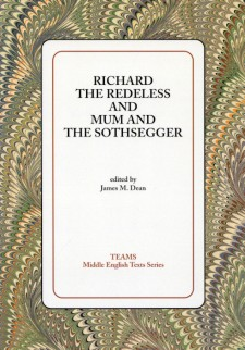 Cover image of Richard the Redeless and Mum and the Sothsegger: the title on a white square, over a brown, tan, and green swirled background