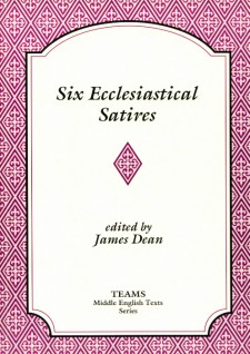 Cover image of Six Ecclesiastical Satires: the title on a white plaque, over a pink and magenta background of stylized foliate shapes within diamonds