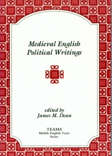 Cover image of Medieval English Political Writings: the title on a white plaque, over a red and pink tiled background