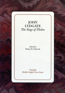 Cover image of John Lydgate: The Siege of Thebes: the title on a white square, over a red and black swirled background