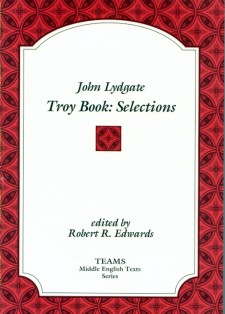 Cover image of John Lydgate: Troy Book: Selections: the title on a white plaque, over a red background of interlaced diamonds