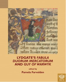 Cover image of Lydgate's Fabula duorum mercatorum and Guy of Warwyk: Detail of a historiated initial W, with presumably Lydgate dressed as a black monk riding a horse, Arundel 119, f. 1, The British Library Board