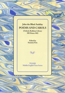 Cover image of Poems and Carols: the title on a pale yellow square, over a yellow and blue swirled background.