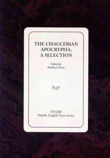 Cover image of The Chaucerian Apocrypha: A Selection: the title on a white square, over a dark red and black swirled background