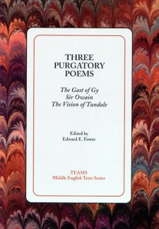 Cover image of Three Purgatory Poems: the title on a white square, over a red, grey, and orange swirled background