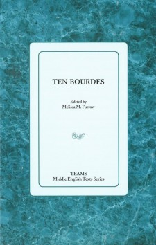 Cover image of Ten Bourdes: the title on a pale blue square over a teal marble-patterned background.