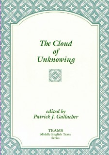 Cover image of The Cloud of Unknowing: the title on a white plaque, over a white and light teal stylized floral pattern
