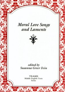 Cover image of Moral Love Songs and Laments: the title on a white plaque, over a red and white floral pattern