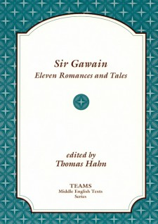 Cover image of Sir Gawain: Eleven Romances and Tales: the cover in brown on a white plaque, over a teal pattern of diamonds and crosses