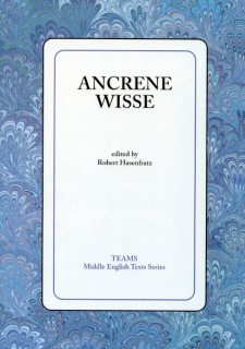 Cover image of Ancrene Wisse: the title on a white square, over a blue swirled background