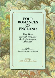 Cover image of Four Romances of England: the title on a light green square, over a brown, green, and yellow swirled background