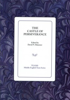 Cover image of The Castle of Perseverance: the title on a white square, over a purple background
