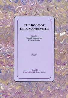 Cover image of The Book of John Mandeville: the cover on a light purple square, over a purple and gold swirled background