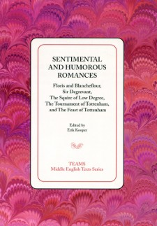 Cover image of Sentimental and Humorous Romances: the title on a white square, over a pink, red, and purple swirled background