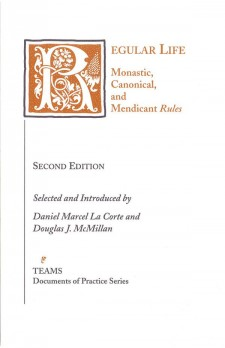 "Cover of Regular Life: Monastic, Canonical, and Mendicant ""Rules"": the title on a white background in orange, with the initial R as a large, foliate initial in white on a green square"