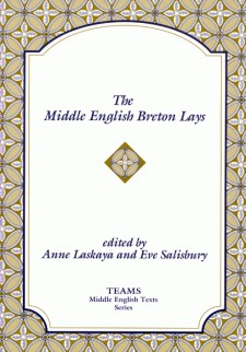 Cover image of The Middle English Breton Lays: the title in blue on a white plaque, over a born, yellow, and white stylized floral pattern