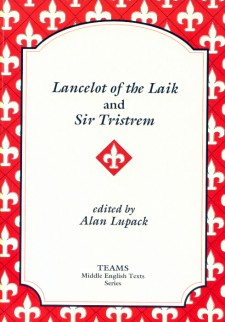 Cover image of Lancelot of the Laik and Sir Trestrem: the title on a white plaque, over a red background overlaid with white fleurs de lys