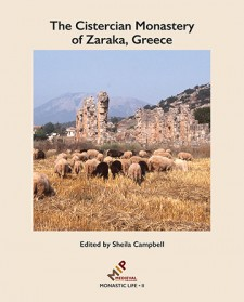 Cover image of The Cistercian Monastery of Zaraka, Greece: An image of a ruined monastery in the midground, a hazy mountain in the background, and a herd of sheep in the foreground surrounded by a tan border.